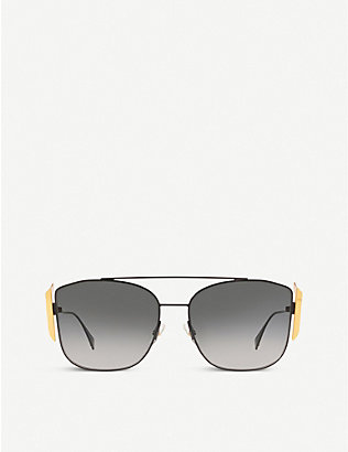 FENDI: FF0380 metal pilot-frame sunglasses