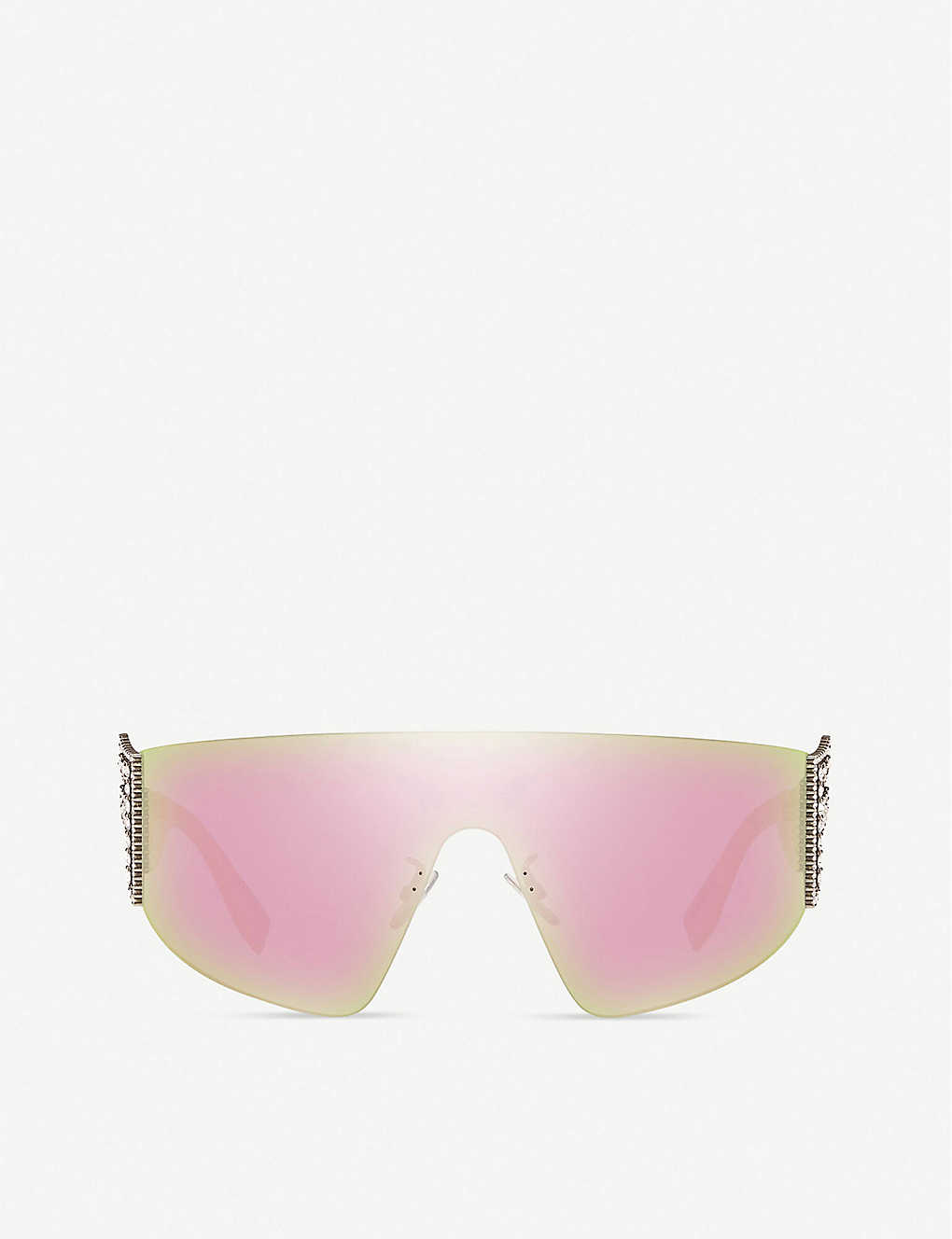 FENDI: FF0382 metal and acetate wraparound sunglasses