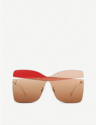 FENDI: FF 0399/S oversized metal square-frame sunglasses