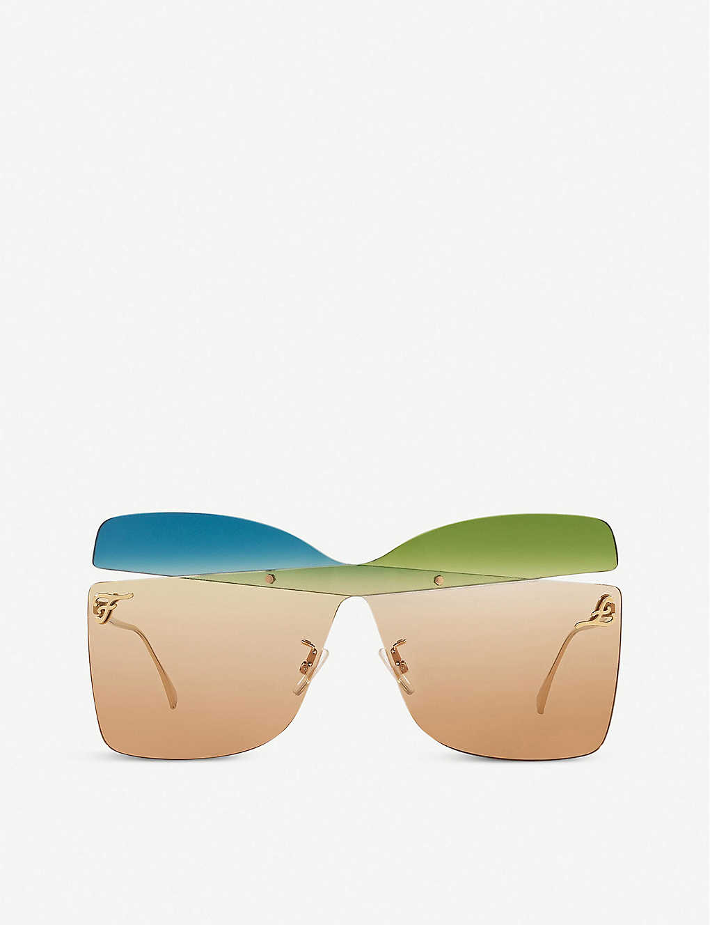 FENDI: FF0399/S acetate and metal butterfly-frame sunglasses