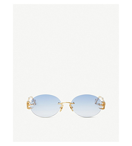 5cacf48692 ANNA-KARIN KARLSSON The Claw and the Nest oval-frame sunglasses (White+
