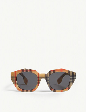 BURBERRY Be4288 irregular-frame check sunglasses