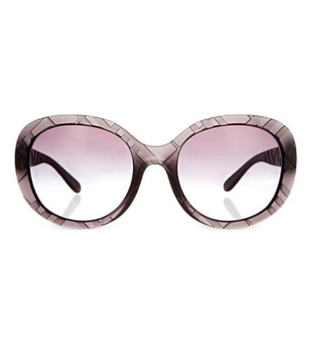 9181b137824ca BURBERRY Be4218 check trim round-frame sunglasses (Grey