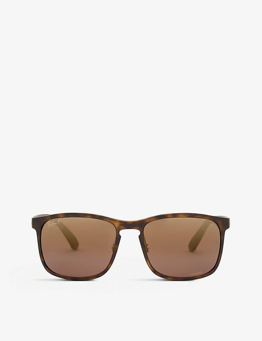 1796c41643f534 RB4264 Chromance® Havana square-frame sunglasses - Matte havana ...