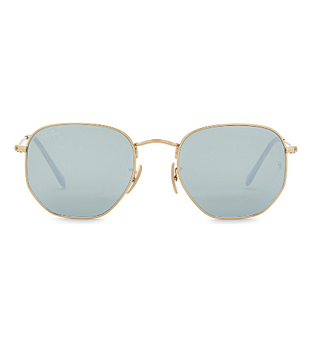 8c31dad09e Ray-ban Hexagonal-frame Gold-tone Sunglasses