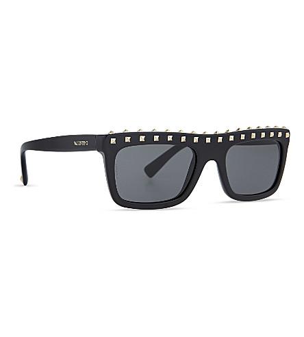 Valentino Rockstud 51Mm Rectangular Sunglasses - Black/ Light Gold