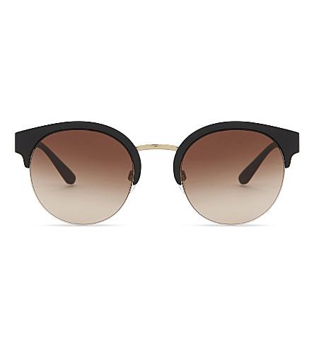 f35f1ee716ec BURBERRY - Be4241 check-detail round half-frame sunglasses ...
