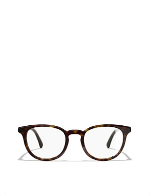 CHANEL Havana phantos round-frame glasses