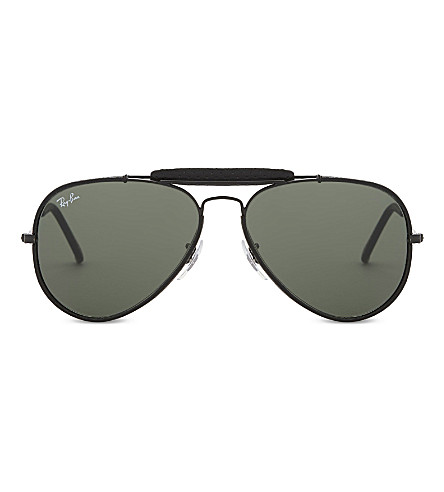 a8bb57d1fa6 RAY-BAN Rb3422q Outdoorsman Craft aviator sunglasses (Leather+black