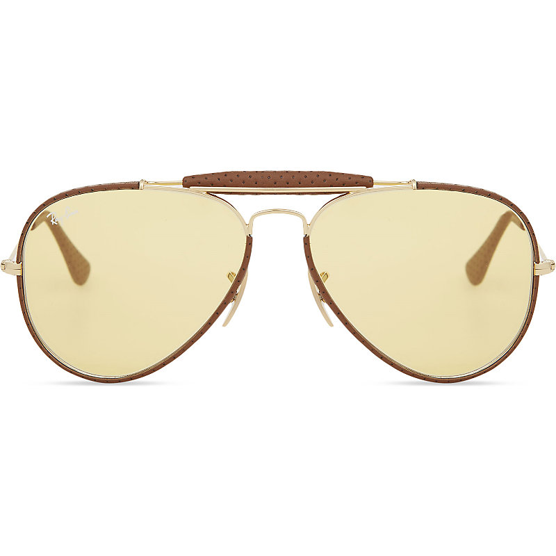 22e3ab8364 Ray Ban Rb3422 Aviator Sunglasses In Leather Light Brown ...