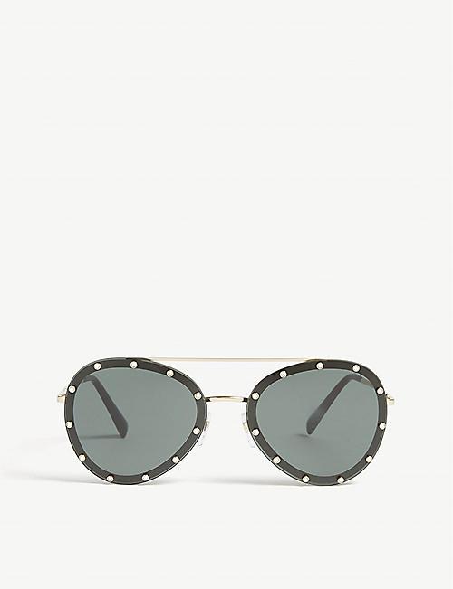 67fe1433bd0 VALENTINO Va2013 embellished pilot-frame sunglasses