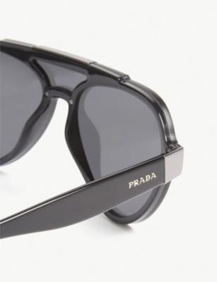 7ca310e025 Prada Womens Black Pr01Us Pilot-Frame Sunglasses
