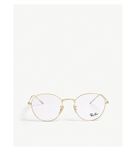 0f21f2f527 Ray Ban Clubround Phantos-Frame Optical Glasses In Gold