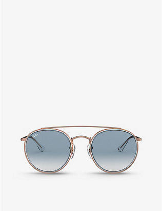 RAY-BAN: RB3647N phantos-frame metal sunglasses