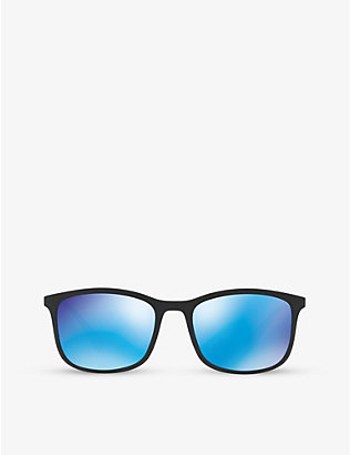 PRADA LINEA ROSSA: PS01TS rectangular rubber sunglasses