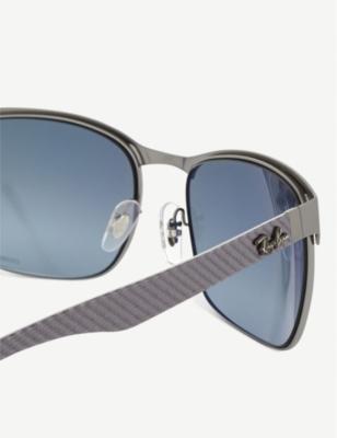 77412504d9 Ray Ban Rb8319 Chromance Rectangle-Frame Sunglasses In Gunmetal ...