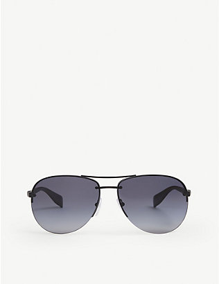 PRADA LINEA ROSSA: PS 56MS aviator metal sunglasses