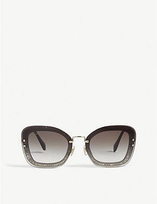MIU MIU: Mu02Ts rectangle-frame sunglasses
