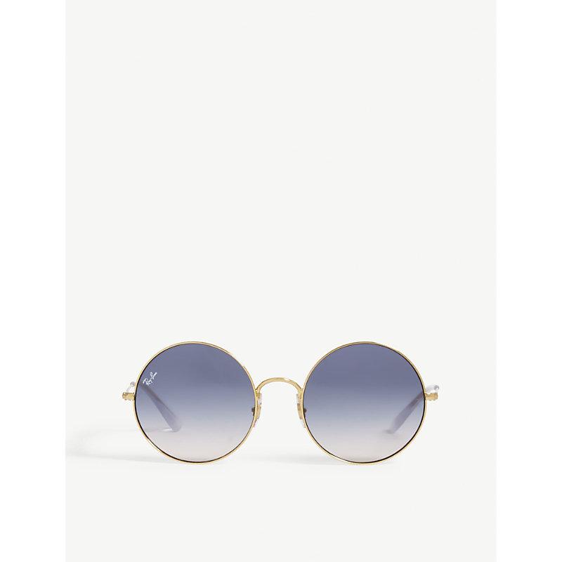 Rb3592 Ja-Jo Round-Frame Sunglasses, Gold