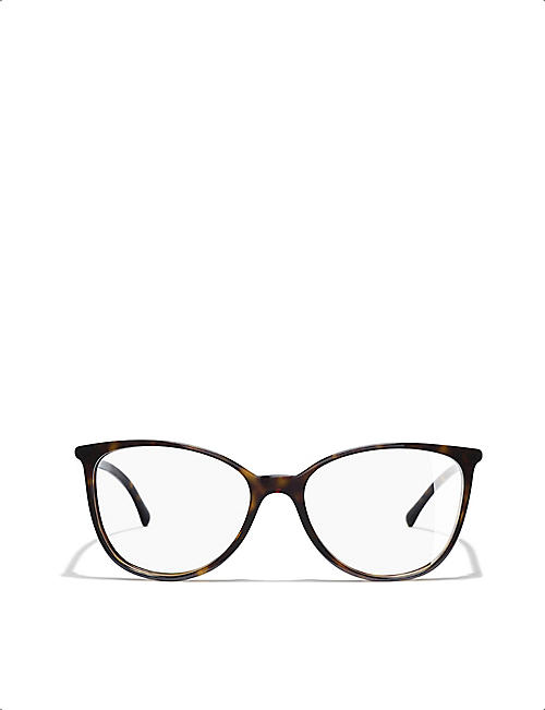 CHANEL CH3373 tortoiseshell-effect cat-eye glasses