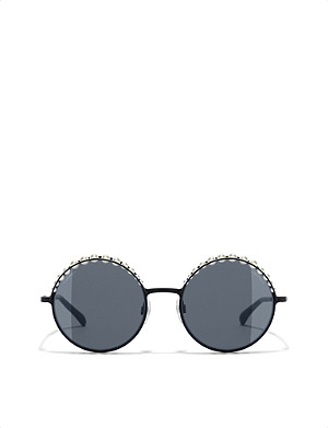 CHANEL Round pearl-detail sunglasses