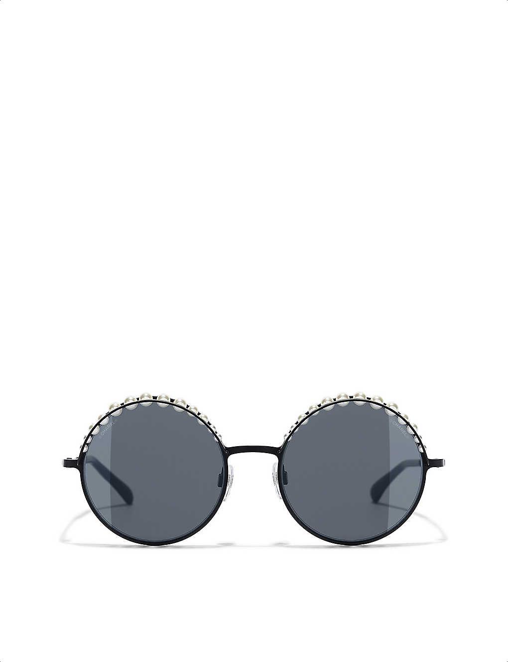 5b9aeb3b549b Round pearl-detail sunglasses - Matte black ...