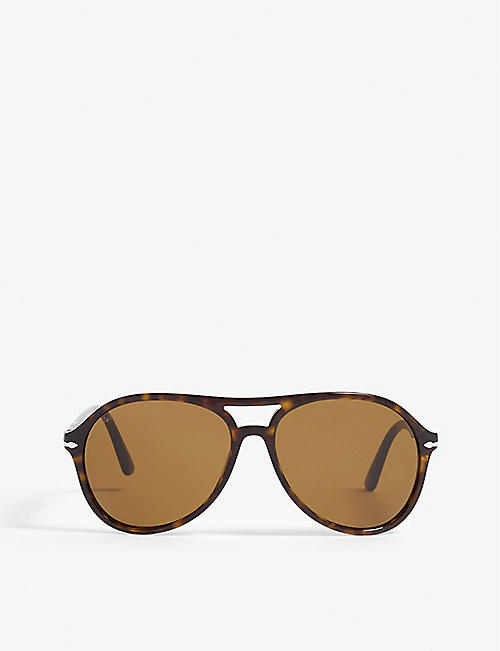 e07c0977307f2 PERSOL Havana Po3194s pilot-frame sunglasses