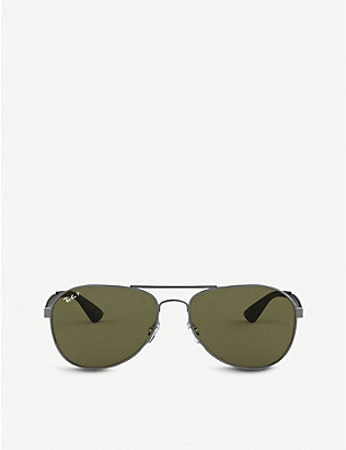 RAY-BAN: RB3549 metal pilot-frame sunglasses