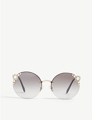 MIU MIU: Metal round sunglasses