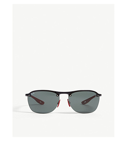 c7a59f1d5a75b RAY-BAN RB4302 Ferrari rectangle-frame sunglasses (Black