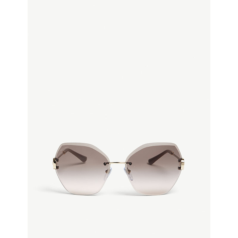 BVLGARI   Bvlgari Ladies Gold Luxury Bv6105B Square-Frame Sunglasses   Goxip