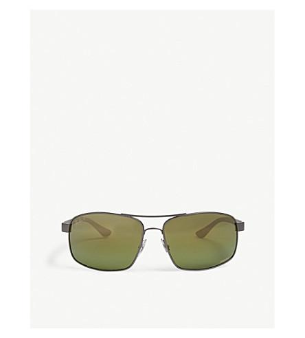 7472714247 RAY-BAN RB3604 Chromance rectangle-frame sunglasses (Gunmetal