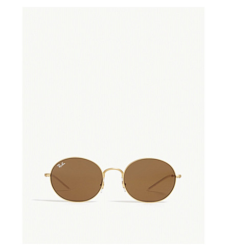 ba65808f78 RAY-BAN RB3594 round-frame sunglasses (Rubber+gold