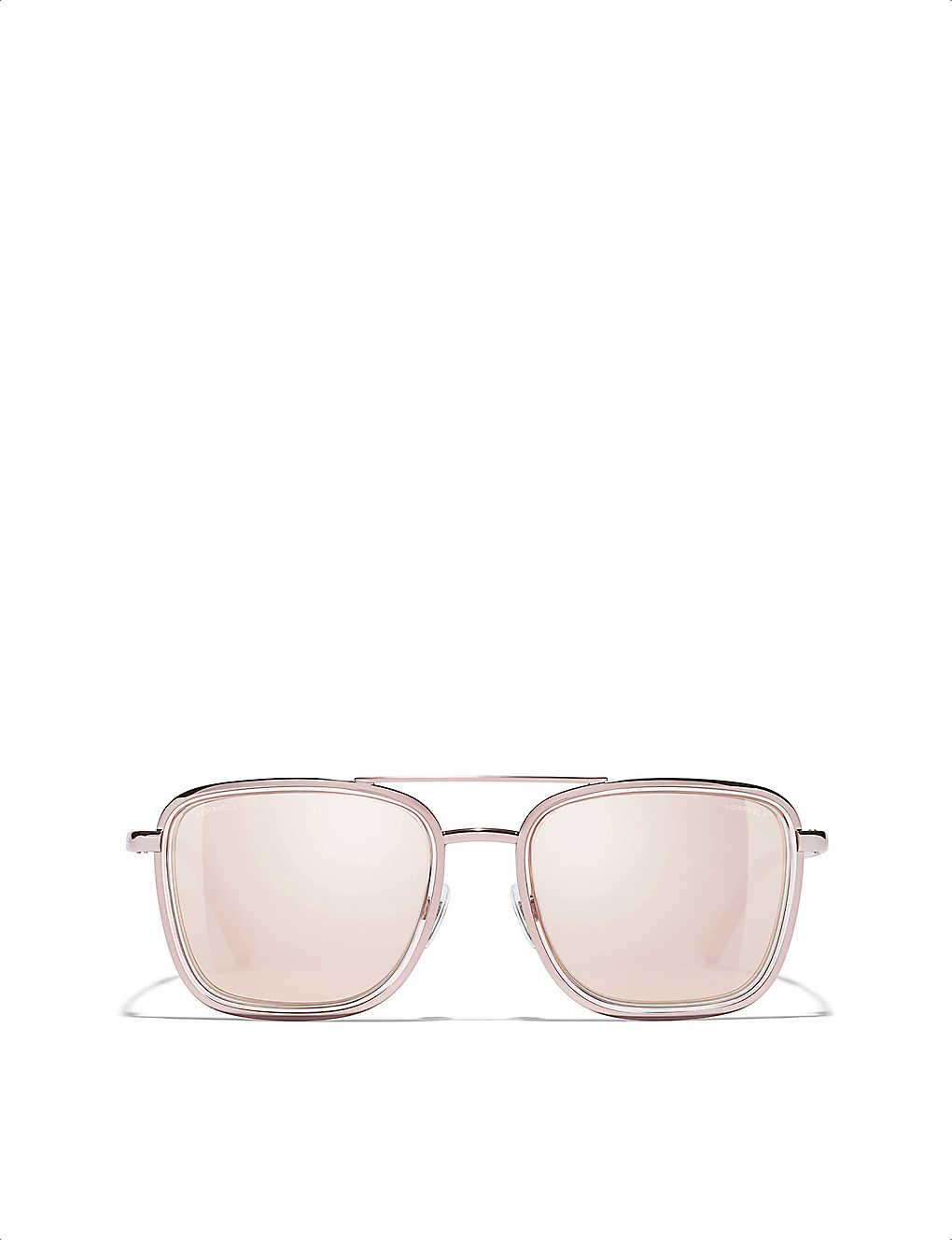 403c0d7a0 CHANEL - 18-carat pink-gold plated metal sunglasses | Selfridges.com