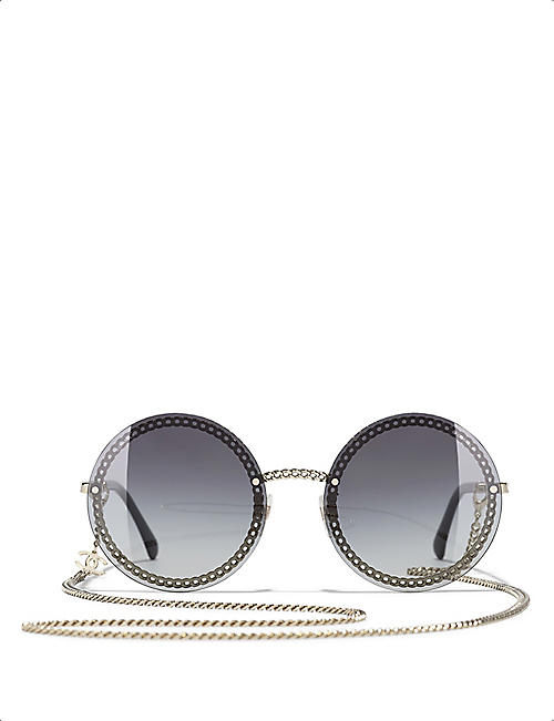 CHANEL CH4245 chain-embellished round-frame acetate sunglasses