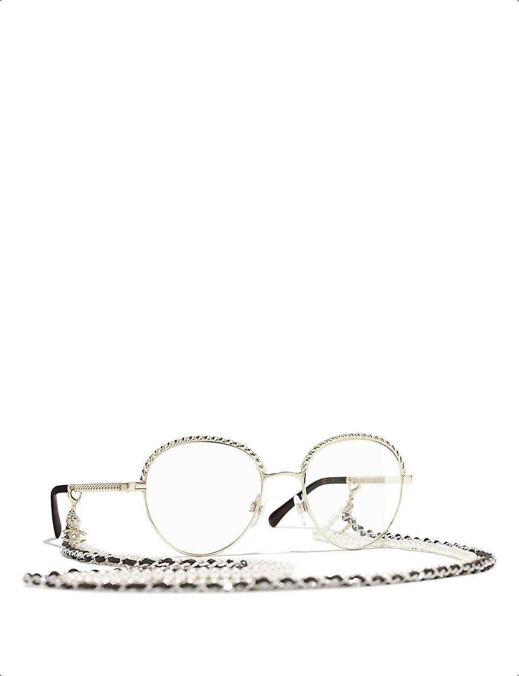 CHANEL: Pantos gold-toned metal glasses
