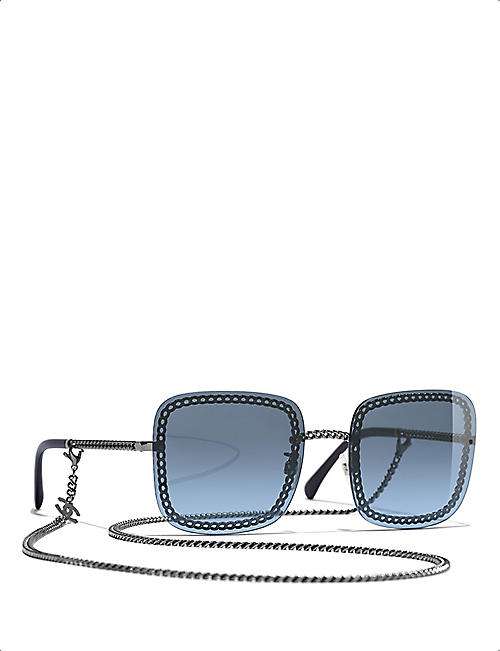 CHANEL CH4244 chain-embellished square-frame acetate sunglasses