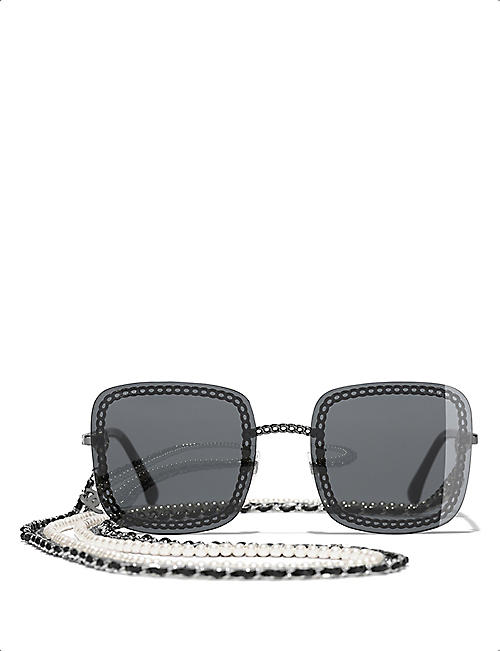 CHANEL: CH4244 57 chain-trim tinted sunglasses