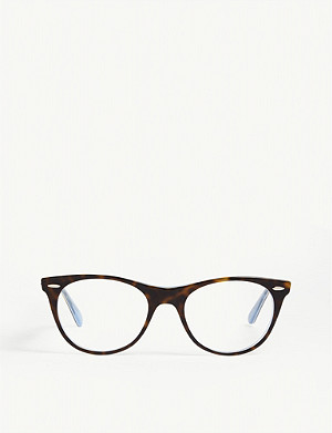RAY-BAN RB2185 square-frame Havana glasses
