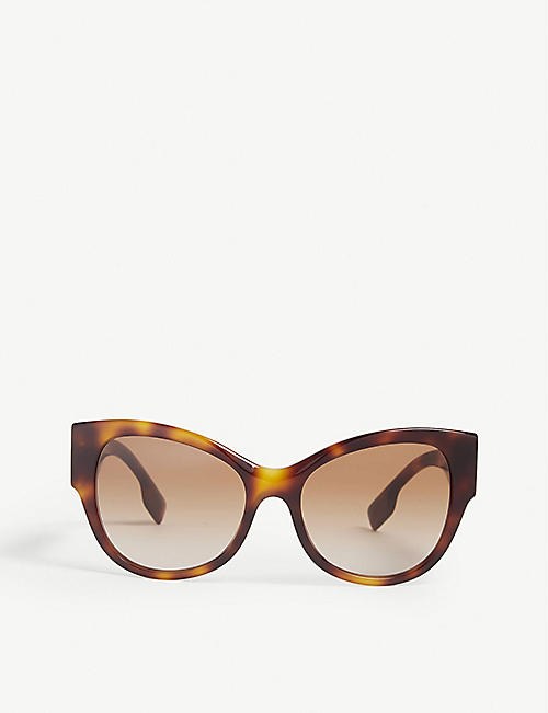 BURBERRY: B4294 cat-eye-frame Havana sunglasses