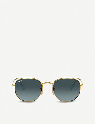 RAY-BAN: RB3548N gold-tone metal and glass hexagonal sunglasses