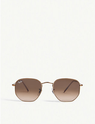 RAY-BAN: RB3548N metal hexagonal sunglasses