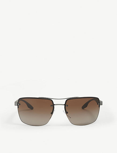 PRADA LINEA ROSSA: PS60US rectangle-frame aviator sunglasses