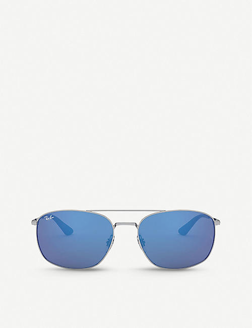 RAY-BAN: RB3654 metal square-frame sunglasses