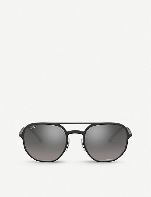 RAY-BAN: RB4321CH Chromance acetate hexagonal-frame sunglasses