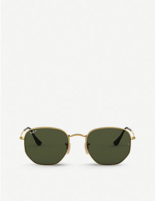 RAY-BAN: RB3548N metal crystal hexagonal-frame sunglasses