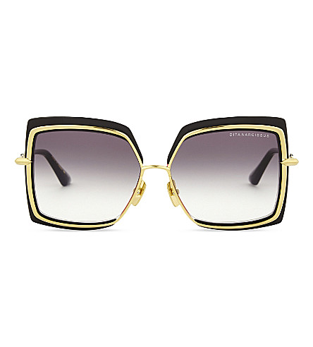 3c24318199 Dita Narcissus Square-Frame Sunglasses In Black Yellow