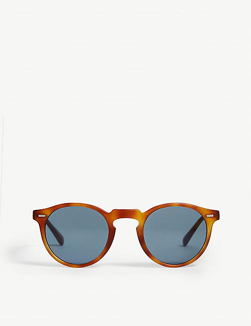 OLIVER PEOPLES: Gregory Peck tortoiseshell round-frame sunglasses
