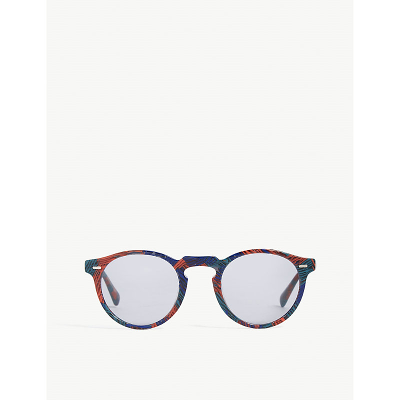 ee8a007673 Oliver Peoples Ladies Red And Blue Gregory Peck Phantos-Frame Sunglasses In  Red Blue