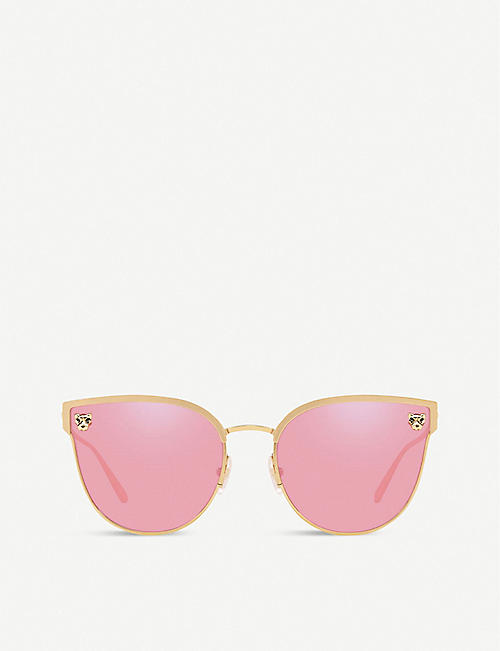 CARTIER: CT0198S Panthère De Cartier metal acetate cat eye-frame sunglasses